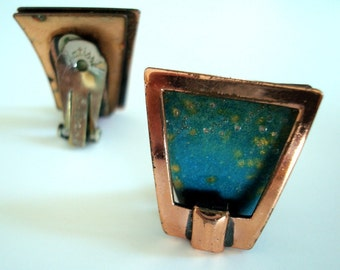Vintage Signed Renoir Earrings In Copper With Enamel Accents