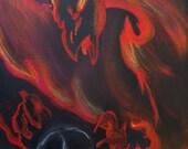 Original Acrylic on Canvas: Phoenix with Skull
