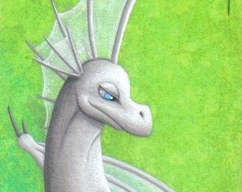 ACEO Fantasy Art Print- Crested - Limited Edition Print - ATC Fantasy Dragon Art