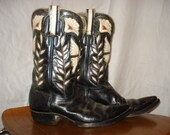 Stunning Rare Vintage 1950's Embroidered Black and White Butterfly Cowboy Boots