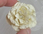 Handmade Paper Flower Vanilla Cardstock with Pearl Center - SET OF 3