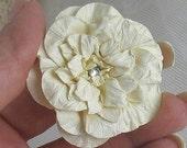 Handmade Paper Flower Vanilla Cardstock with Rhinestone Center - SET OF 3