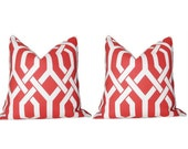 Pair of 2 FREE US SHIPPING Accent Pillow. Decorative Pillow. P Kaufmann Slick Coral Trellis Pattern. One 18 X 18 Inch Cover.