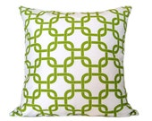 EXTRA 15% OFF Pillow Cover. Throw Pillow. Accent Pillow. Lime Green Chain BOTH sides. 18 x 18 Inch Green and White Pillow