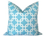 FREE SHIPPING Decorative Pillow Covers. Geometric Chain Link Aqua 20 x 20 Inch Throw Pillow Cover