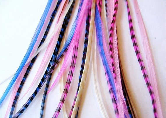 Feather Hair Extensions : ROCKSTAR 5 Feathers and 2 Beads LONG 7-12 Inches