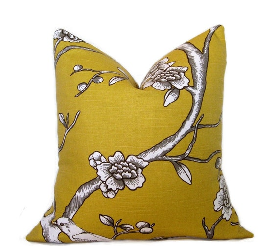 Pillow Cover. Throw Pillow. Accent Pillow. Dwell Studio Fabric Both sides. 16 x 16 Inch Mustard Yellow Bird and Blossom