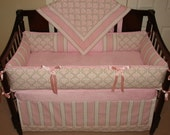Custom crib Bedding set  Bella Pink / Taupe, Reserved for Jordan. First Payment