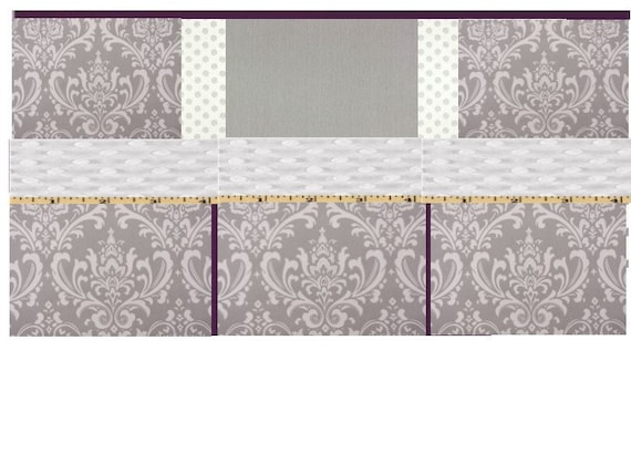 Baby bedding 4pc crib set gray damask purple reserved for jeannette