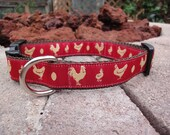 """1"""" Width Dog Collar - Chickens on Red"""