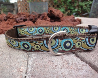 "1"" Width Dog Collar - Turquoise/Pistachio Circle Waves"