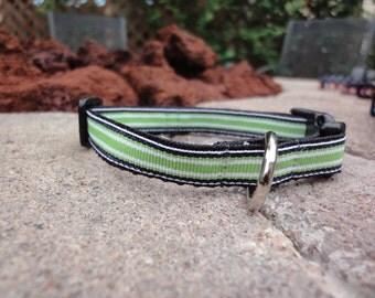 "1/2"" Width Dog Collar - Green/Navy Stripe"