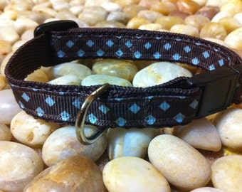 "1/2"" Width Cat Collar - Brown/Blue Gingham Checks"
