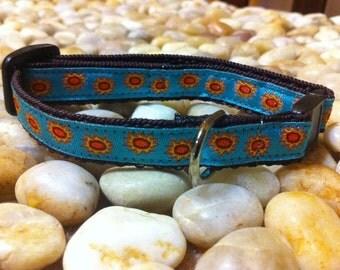"1/2"" Width Cat Collar - Sun on Turquoise"