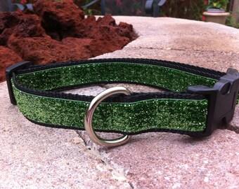 """1"""" Width Dog Collar - Green Glitter"""