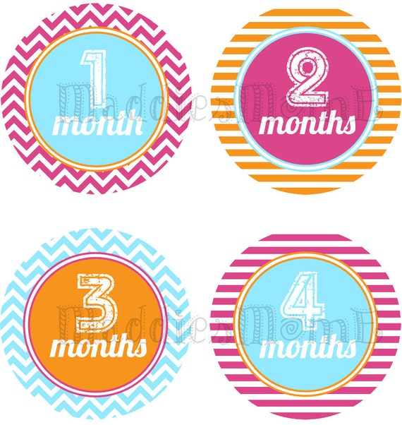 Monthly Baby Girl Stickers, Milestone Stickers, Baby Month Stickers, Monthly Bodysuit Sticker, Monthly Stickers Chevron Retro (Lilly)