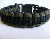 Black and OD Green Cobra Stitch Paracord Survival Bracelet with side release buckle - Pick Your Color - Custom Made to Fit