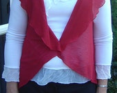 Red Shrug. Bolero Style With Collar. One of a kind.