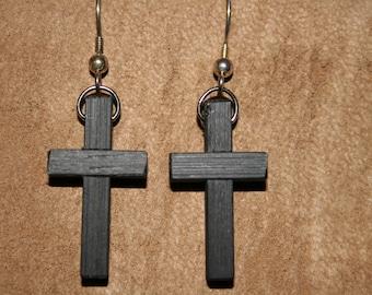 Bog Oak Cross earrings