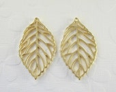 6 Pcs - Matte Gold Plated Filigree Leaves, Golden Leaf, Connector, Earrings, Charm, Pendant (43x25MM)