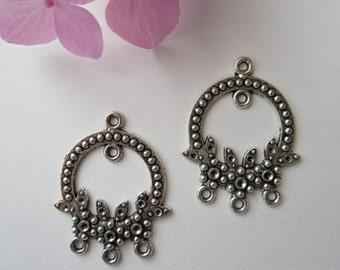 4 pcs  - 33x25mm  -  Tibetan Silver Earring Connectors Findings