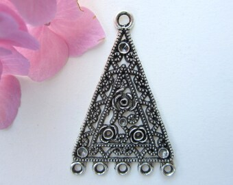 2 pcs  - 46x30 mm  -  Tibetan Silver Triangle Earring Connectors Findings