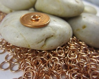 100 Pcs  -  7MM  -  Rose Gold Plated Over Brass Jump Ring - Open