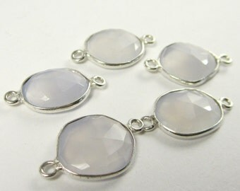 1 Pc - 925 Sterling Silver Bezel Rim,Genuine Faceted Chalcedony Connector,Earring,Pendant,Link,Charm,Jewelry Finding C5243