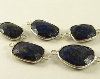 1 Pc - 925 Sterling Silver Bezel Rim,Genuine Faceted Lapis Lazuli Connector,Earring,Pendant,Link,Charm,Jewelry Finding
