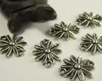 50 pcs  - 16x13mm  -  Tibetan Silver Flower Connectors (J629S)