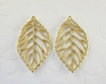2 Pcs - Matte Gold Plated Filigree Leaves, Golden Leaf, Connector, Earrings, Charm, Pendant (43x25MM)