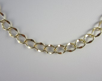 5 Ft -14K Gold Plated Brass Hammered Cable Chain (7.5x5x0.5MM)
