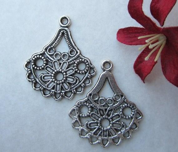 2 pcs  - 33x28mm  -  Tibetan Silver Chandelier Earring Connectors Findings