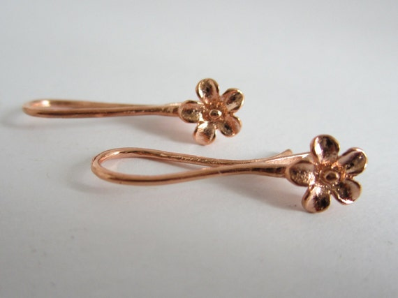 2 Pairs - 14K Rose Gold Plated Brass Floral Earwires (23x10MM)