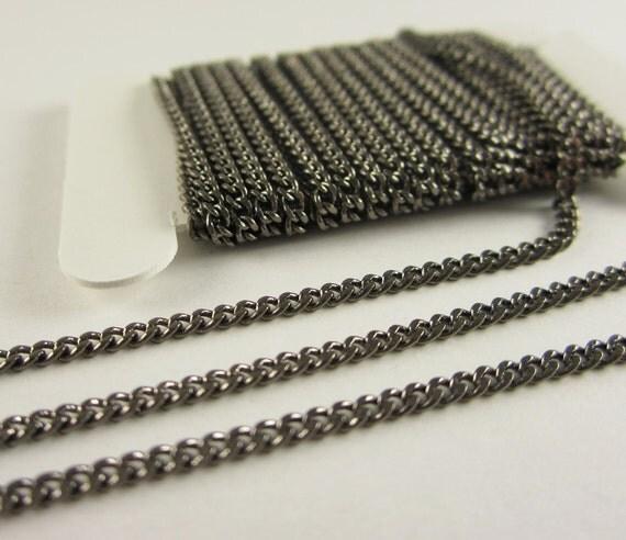 15 Ft - Gun Metal Brass Soldered Curb Chain, Flattened Curb Links, Gun Metal Plated (2MM)