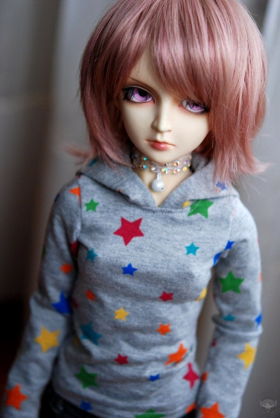 Super Dollfie Rainbow Star Hoodie For BJD - Grey - Last One