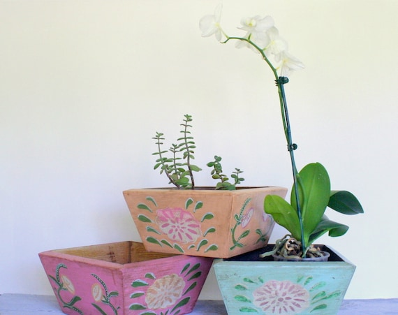 Wooden Cedar Planter Box - Handpainted Folk Art Bowl