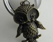 Mesh Tea Ball with Brass Owl Charm