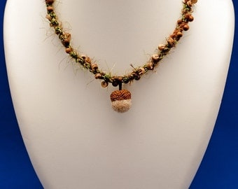 ACORN (green and brown kumihimo necklace with wood beads and real acorn felted pendant)