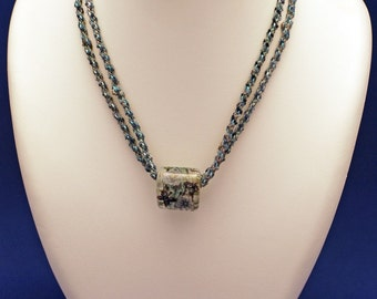 SUMI-E (blue kumihimo necklace with butterflies and peonies japanese glass pendant)