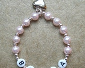New Baby Child Pink Pearls Personalized Name Bracelet With Silver Puffed Heart Charm