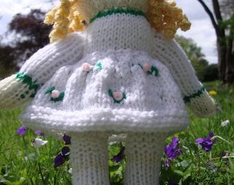 Hand Knit Curly Locks, the  Rosebud Doll