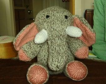 Hand Knit Stuffed Elephant
