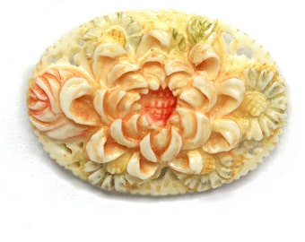 Tinted Floral Cabochon Carved Chrysanthemum 45mm
