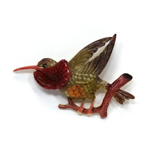 Bird Cabochon Green Japanese Celluloid 1930s 60mm