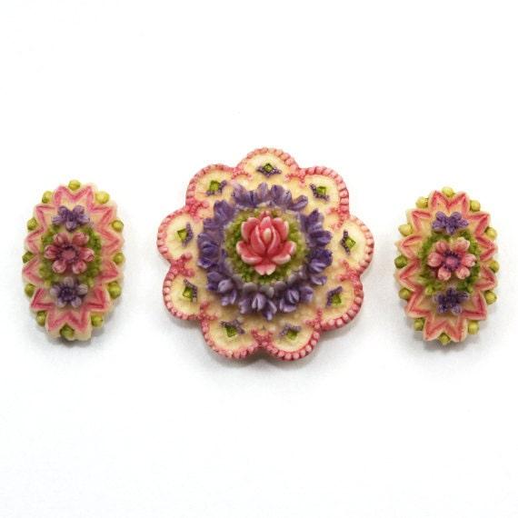 Cabochon Floral Purple and Pink Trio (3)