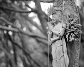 Ancient Statue of an Goddess in Black and White, Japan- Matted 8x10 Print - Fine Art Photograph - Home Decor - Wall Art