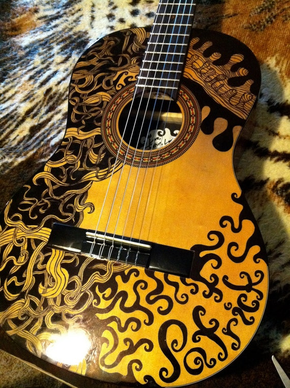 RESERVED Custom Designed Acoustic Guitar great music gift