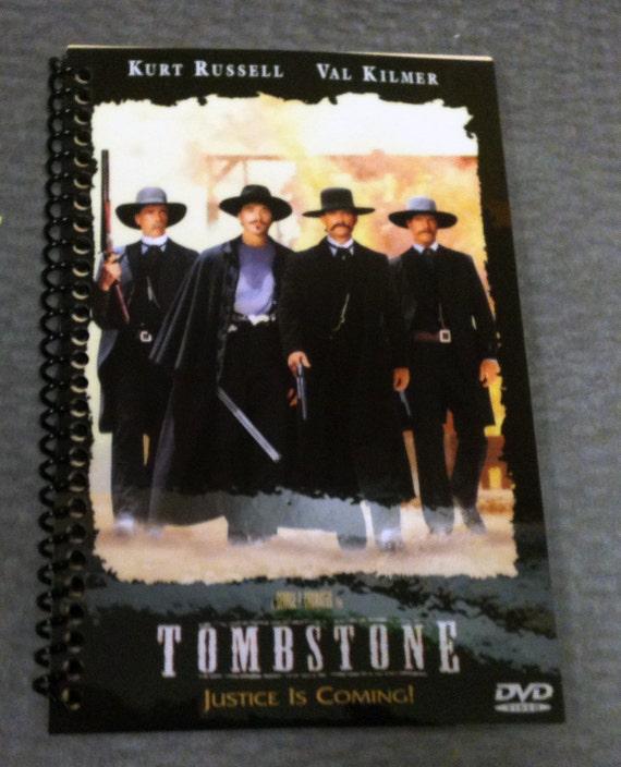 tombstone western movie notebook upcycled by skullanda on etsy