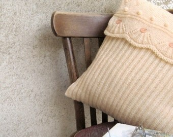 """Knit Throw Pillow Antique white 18"""", Rib Lace Pillow Case, Bed Settee Home Decor, Classic Decorated Cover, Home Living"""